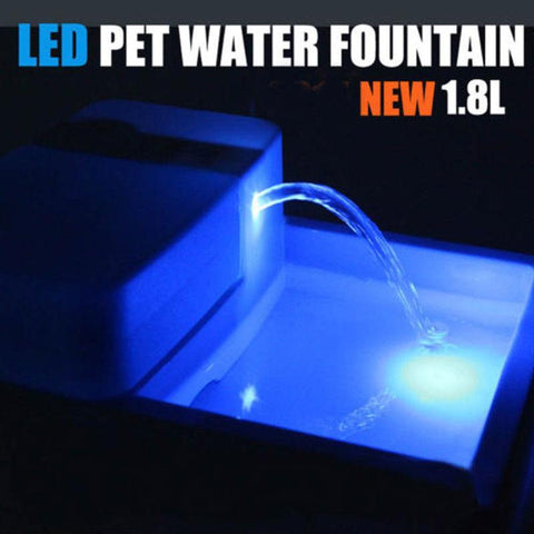 Animals & Pet Supplies > Pet Supplies > Pet Bowls, Feeders & Waterers - 1.8 Liter - LED Drinking Fountain For Pets