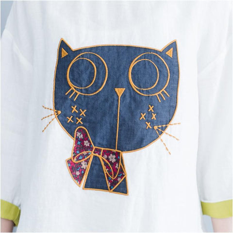 Apparel & Accessories > Clothing - Abstract Cat - Embroidered 3/4 Sleeve T-Shirt
