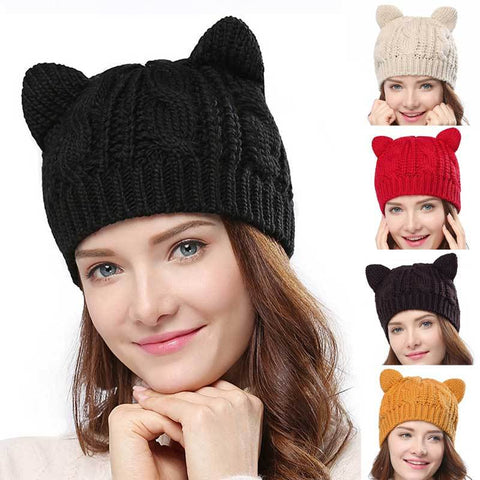 Apparel & Accessories > Clothing Accessories > Hats - Cable Knit Cat-Ear - Winter Hat