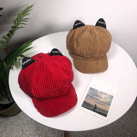 Apparel & Accessories > Clothing Accessories > Hats - Corduroy Cat Ear Cap