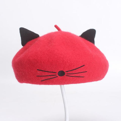 Apparel & Accessories > Clothing Accessories > Hats - Whiskered Cat Ear Wool Beret - Cat Eared Hat/Cap