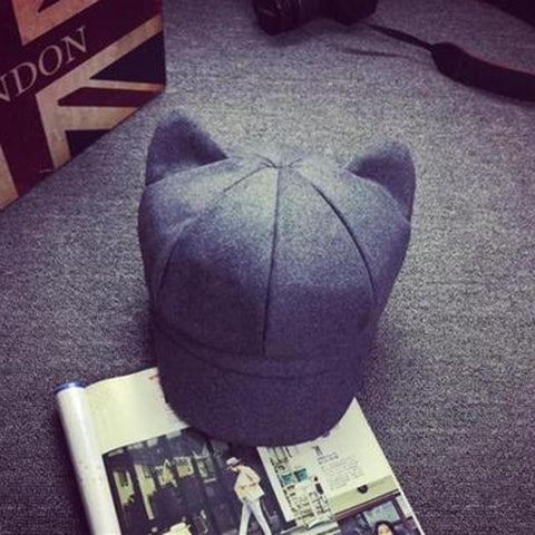 Apparel & Accessories > Clothing Accessories > Hats - Wool Newsboy Caps W/ Cat Ears