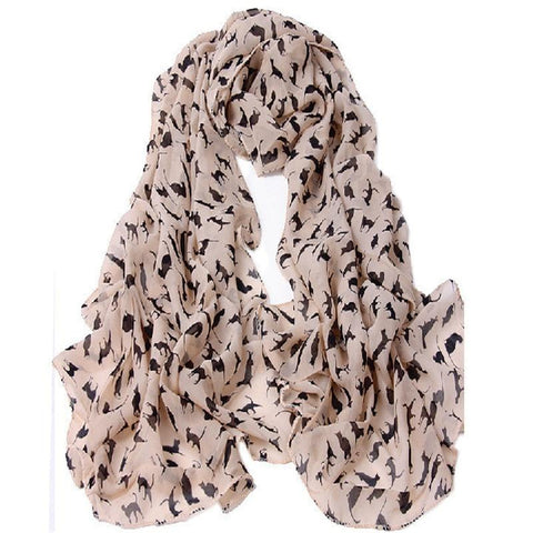Apparel & Accessories > Clothing Accessories > Scarves & Shawls - Lovely Cat-Print Ladies Scarf