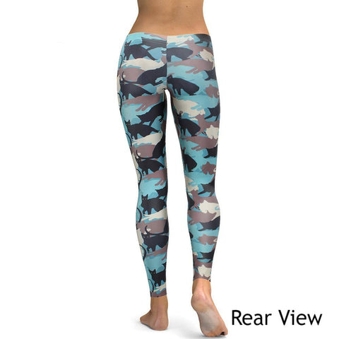 Apparel & Accessories > Clothing - Blue Cat Camo Leggings