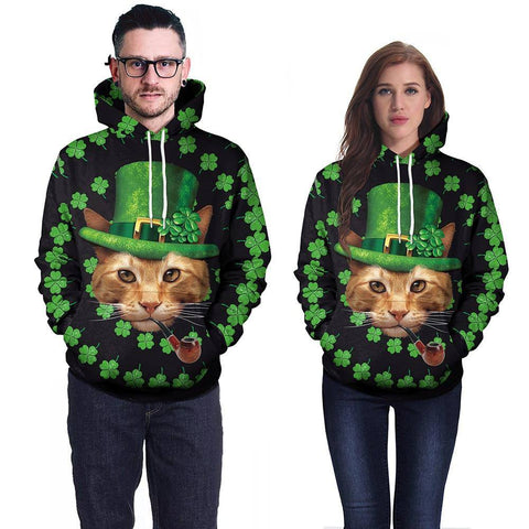 Apparel & Accessories > Clothing - St. Pat Leprechaun Cat - Green Hoodie