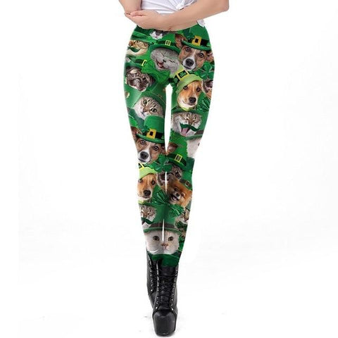 Apparel & Accessories > Clothing - St. Pat Lucky Cat & Dog - Green Leggings