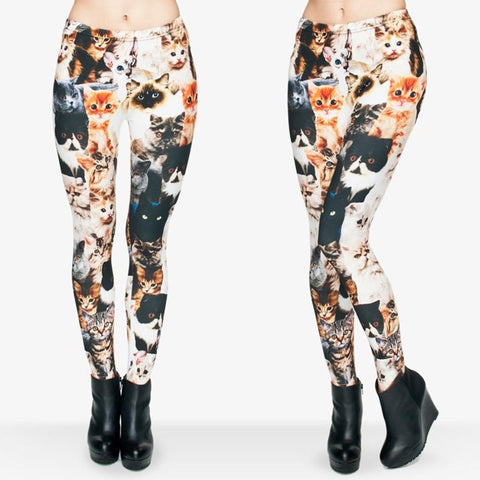 Apparel & Accessories > Clothing - Super Sexy Cat-Print Leggings