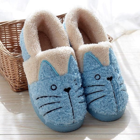 Apparel & Accessories > Clothing - Warm Kitty - Fleece Slippers