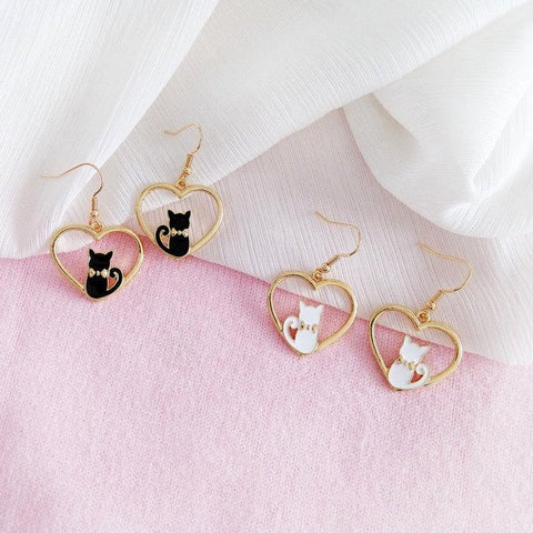 Apparel & Accessories > Jewelry - Cat-n-My Heart Earrings (Get Them FREE - Read How!)