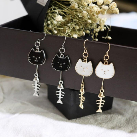 Apparel & Accessories > Jewelry > Earrings - Fishbone Kitty Earrings