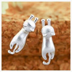 Apparel & Accessories > Jewelry - Hanging Cat Earrings