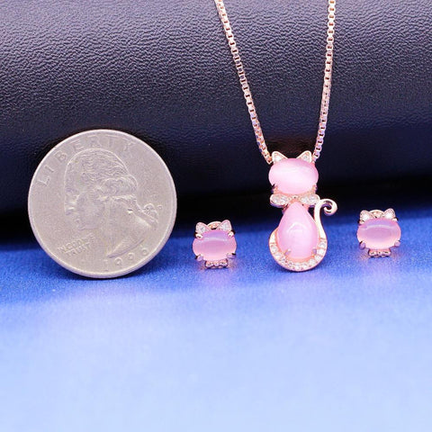 Apparel & Accessories > Jewelry > Jewelry Sets - Moon Stone - Cat Jewelry Set - Necklace And Earrings