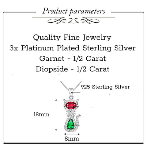 Apparel & Accessories > Jewelry > Necklaces - 2 Gem/Sterling Silver - Cat Necklace