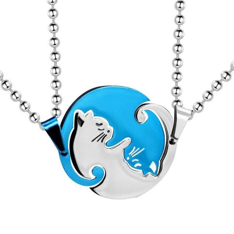 Apparel & Accessories > Jewelry > Necklaces - Yin Yang Cats - Interlocking Necklaces