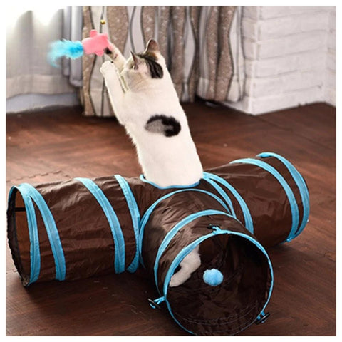 Cat Toys - 3 Way Collapsible Cat Tunnel W/ Hanging Toy