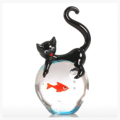 Cat & Goldfish Glass Sculpture