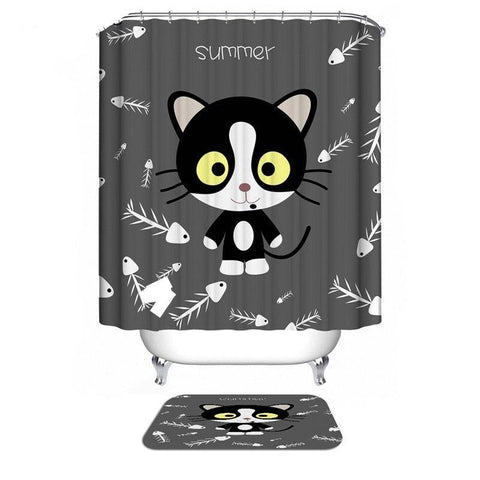 Home & Garden > Bathroom Accessories > Shower Curtains - Cat Shower Curtain/Bath Mat Sets/6 Designs