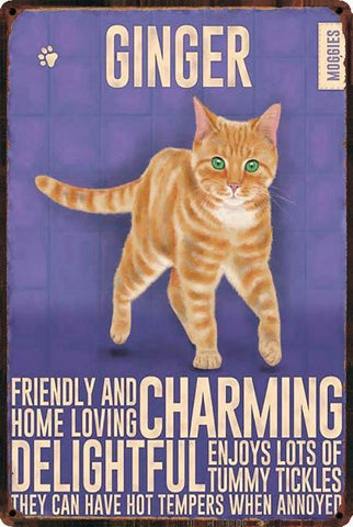 Home & Garden > Decor > Novelty Signs - Vintage Style Metal Signs - Cat Themed Wall Decor - 11 Breeds