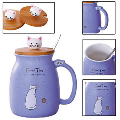 Ceramic Cat Mug w/ Bamboo Lid and Spoon - Coffee Cup