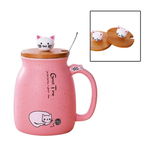 Home & Garden > Kitchen & Dining > Tableware - Ceramic Cat Mug W/ Bamboo Lid And Spoon - Coffee Cup