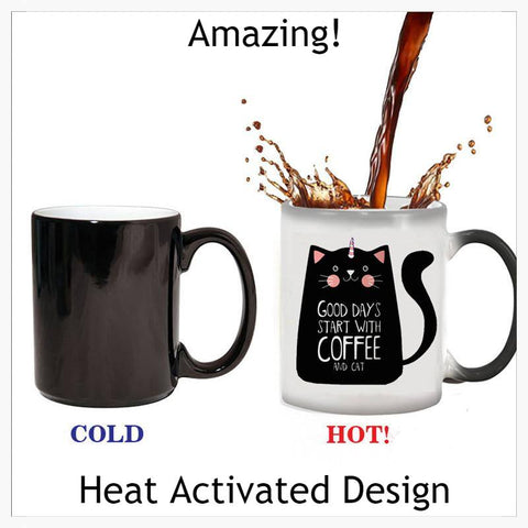 Home & Garden > Kitchen & Dining > Tableware > Drinkware > Coffee & Tea Cups - Color Changing Cat-I-Corn Mug