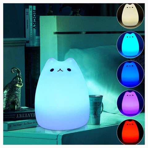 LED Night Lights - Cute Color Cartoon Cat - Night Light
