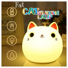 LED Night Lights - Fat Cat Color Cartoon - Squeezable, Touch Sensor Night Light