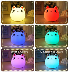 Fat Cat Color Cartoon - Squeezable, Touch Sensor Night Light