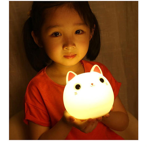 LED Night Lights - Fat Cat Silicone Lamp - Soft, Touch Sensor, Squeezable Night Light
