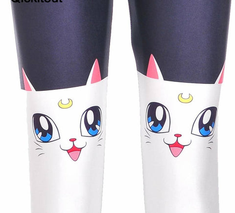 Long White Cat Leggings