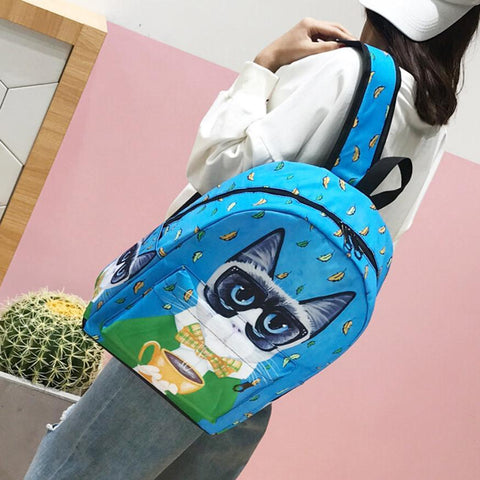 Luggage & Bags > Backpacks - Boho Kitty - Cat Backpack - Canvas Backpack