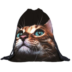 Luggage & Bags > Backpacks - Tabby Cat - Drawstring Backpack - Laundry Bag