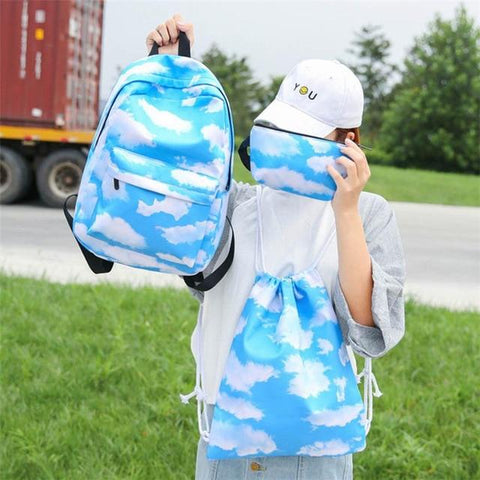 Luggage & Bags > Backpacks - The Laughing Cat - 3pc. Set - Backpack, Drawstring And Makeup Bag