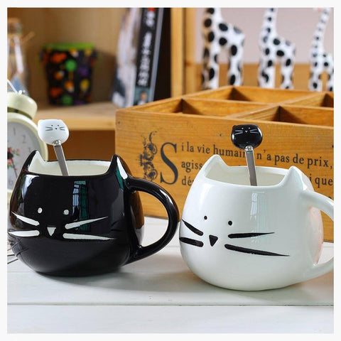 Mugs - Kitty Tea Cups W/ Spoon