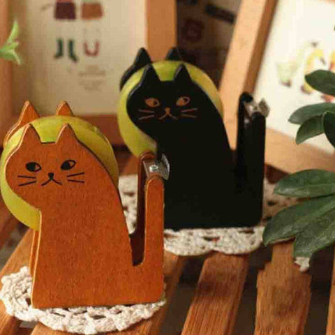 Office Supplies > Office Instruments > Tape Dispensers - Cat Shaped Wooden Tape Dispenser