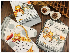 Oven Mitts & Oven Sleeves - 3pc Kitchen Kitty Set - Oven Mitt, Dish Towel And Potholder