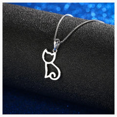 Pendant Necklaces - Sterling Silver Sittin' Kitten Necklace