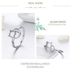 Sterling Silver - i Heart Cat Ring