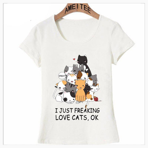 T-Shirts - I Just Freaking LOVE Cats-Anime Style
