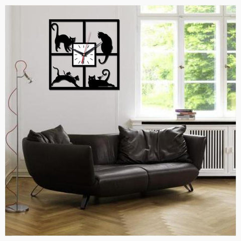 Wall Clocks - Square Cat Wall Clock