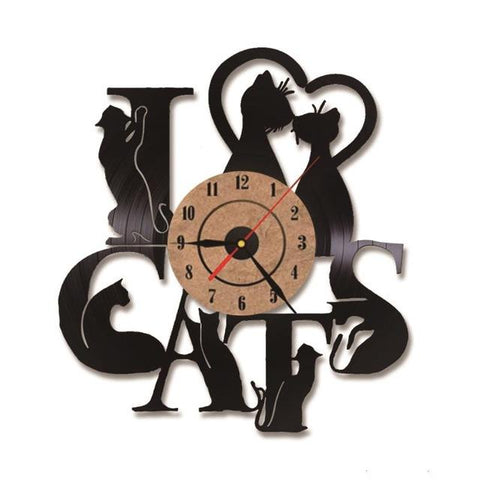 Wall Clocks - Vintage Vinyl LED - I Love Cats Clock