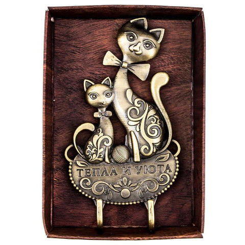 Wall Hook - Mom & Kitten Double Hook Set