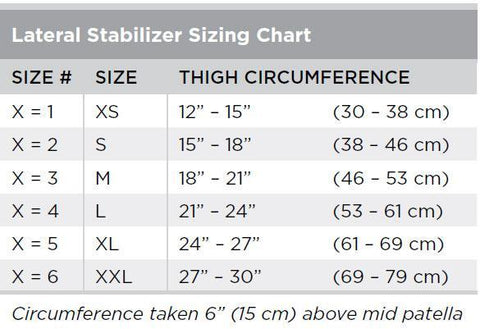 Breg Universal Hinged Lateral Stabilizer Sizing Chart - thebracestore