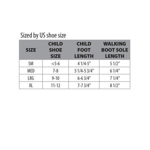 Core Products Swede-O Pediatric Walking Boot Sizing