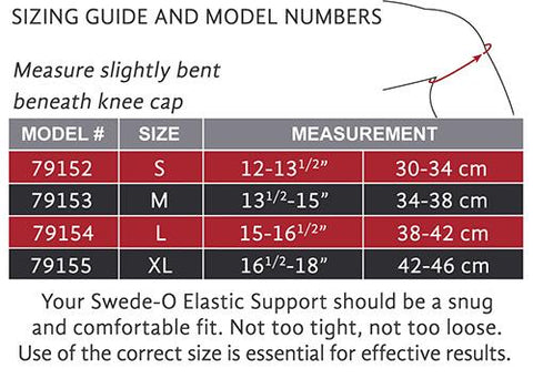 Swede-O Elastic Knee Tetra-Stretch Sizing