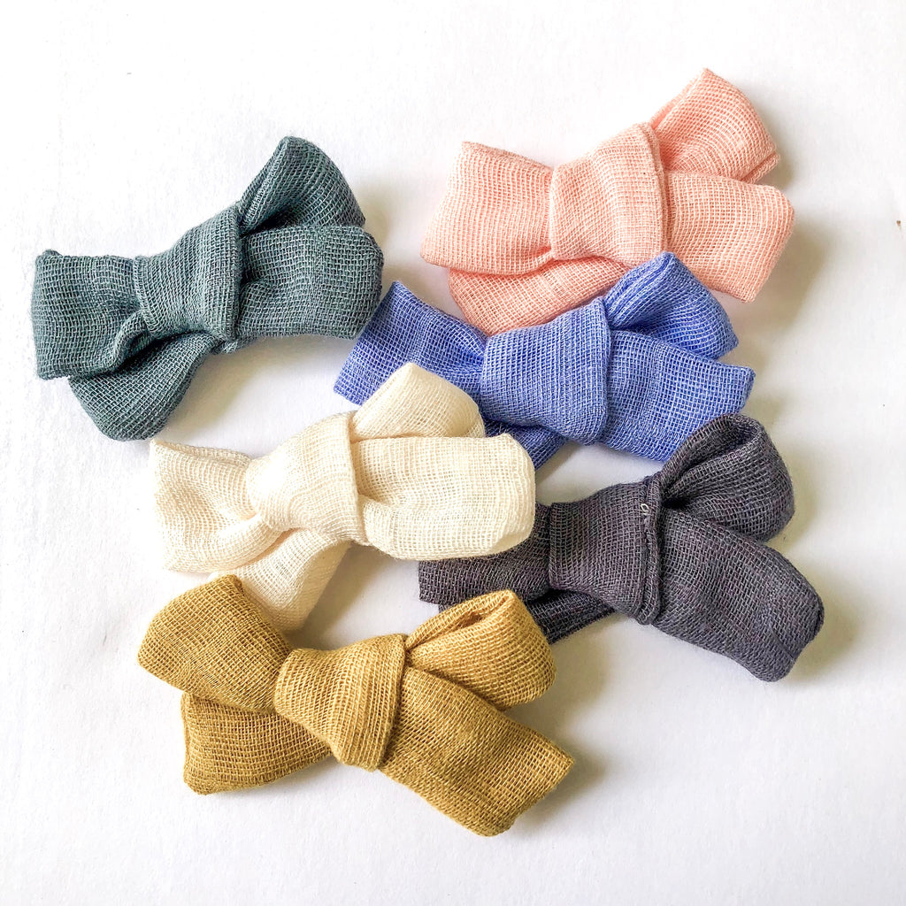 river road baby co, gauze bows, baby bows, baby headbands