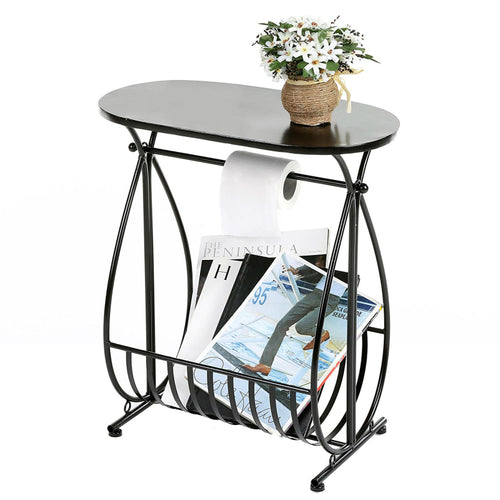 Metal Bathroom Storage Table with Toilet Paper Roll Holder and Magazine Rack, 54X48X26.5CM, Black,White