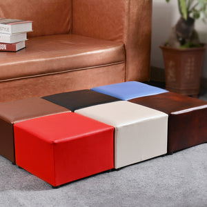 yazi PU Leather Square Stools Ottoman Sofa Chair Portable Furniture Kids Stool Footstool Home Hallway Decor