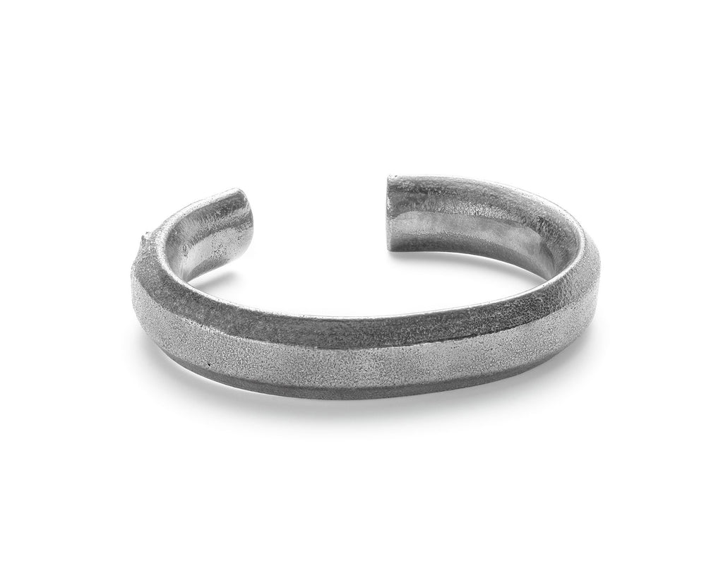 Thick Token Cuff, Sterling Silver