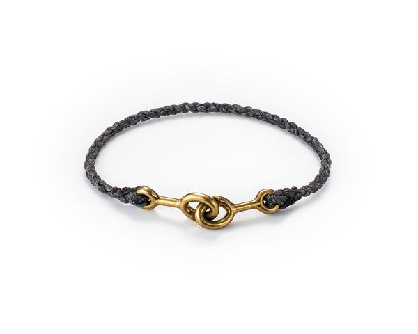 Sister Clasp Bracelet, Brass / Hand Braided